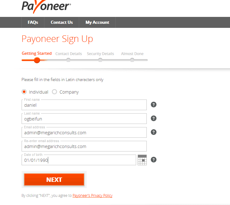 Receiving Payments Online: Free Payoneer MasterCard and US Bank Account 3